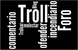 Nube de palabras sobre los troll