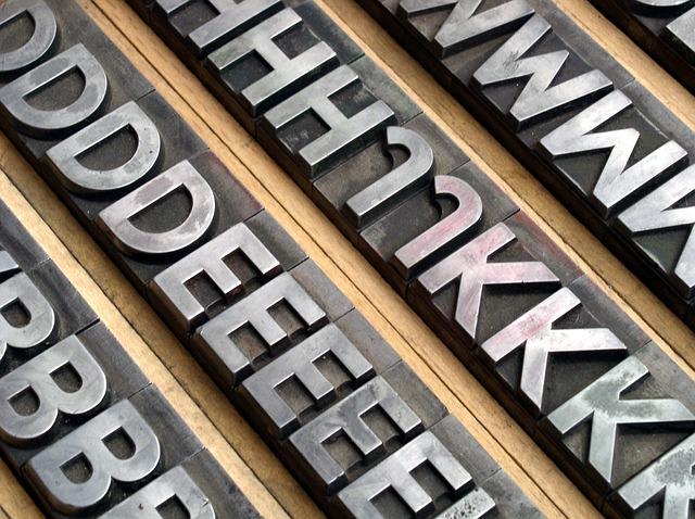 Tipos de plomo para impresión
