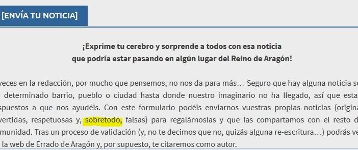 Error en periódico electrónico Errado Aragon