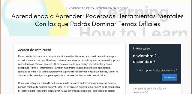 """Página de presentación del curso """"Learning How to Learn"""""""