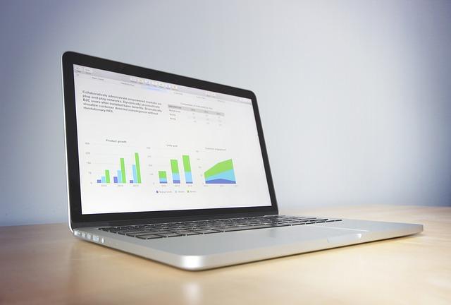 Pantalla de portátil con tres gráficos