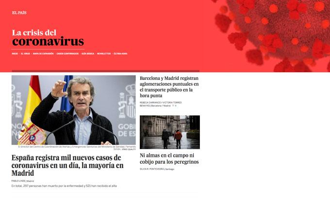 Portada especial coronavirus El País